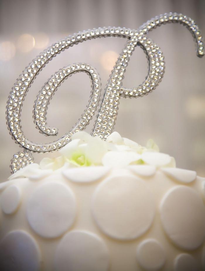 Crystal Monogram Cake Topper Wedding Cake Design