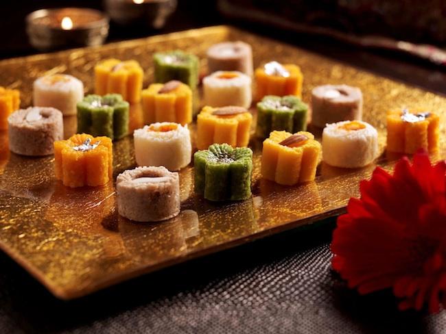 Artistic display Indian wedding sweets