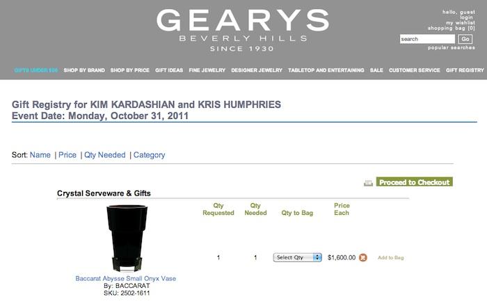 Kim Kadarshian & Kris's Gift Registry