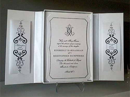 Kim Kardashian wedding invitation