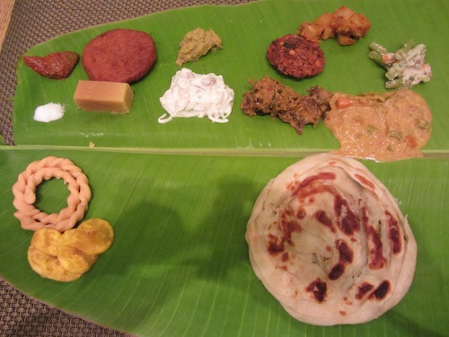 lunch on banana leaf in Chennai