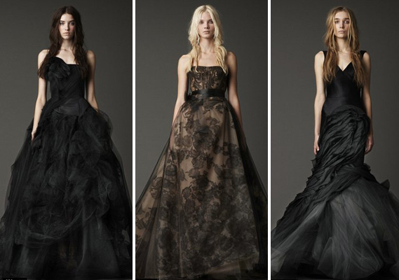 Vera Wang black wedding dresses at the Fall 2012