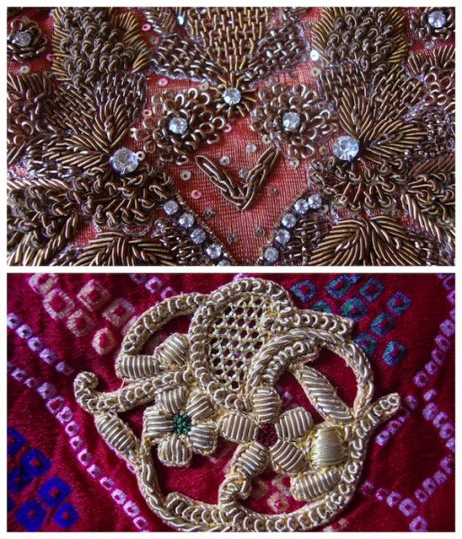 Zardozi work used on Indian bridal wear