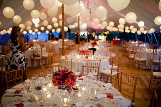Indian wedding reception inside tent with japanese lanters