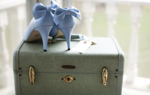 blue wedding cake with shoes
