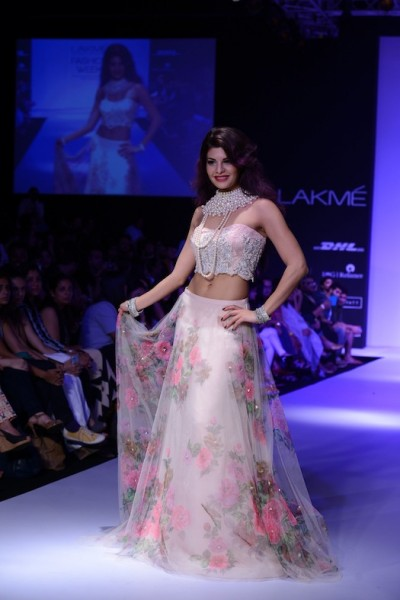 floral gown on Jacqueline Fernandes by Sheila Khan at LFW 2013