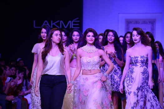 models walking the ramp for Shehlaa Khan at Lakme Fashion week
