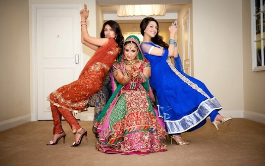 fun picture of Indian bride prior to wedding