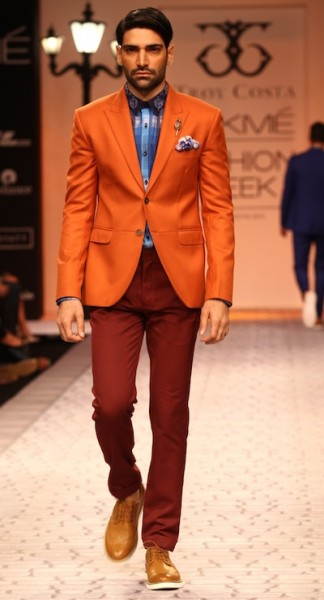 model in Troy Costa's suit at LFW 2013