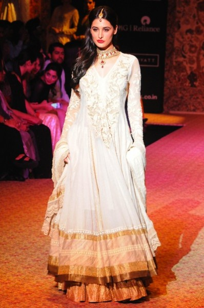 Nargis Fakhri walks the ramp for Ritu Kumar Label