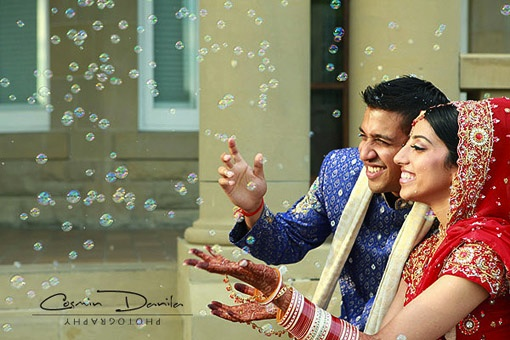 bubbles at Indian wedding reception