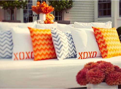 chevron used at Indian wedding - pillows