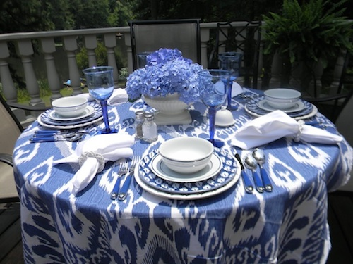 ikat fabric used for wedding reception table
