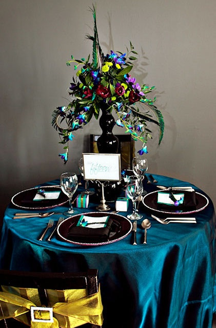 peacock themed table setting for Indian wedding