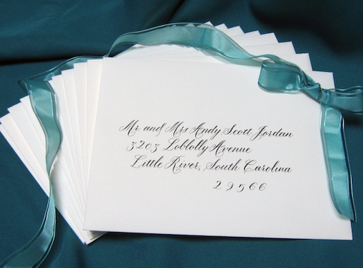 Beautiful Calligraphy on wedding invitations