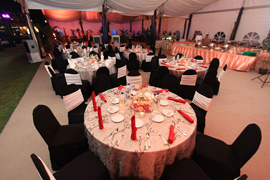 A gorgeous table set-up in a cabana at Shangri-La Rasa Ria Resort