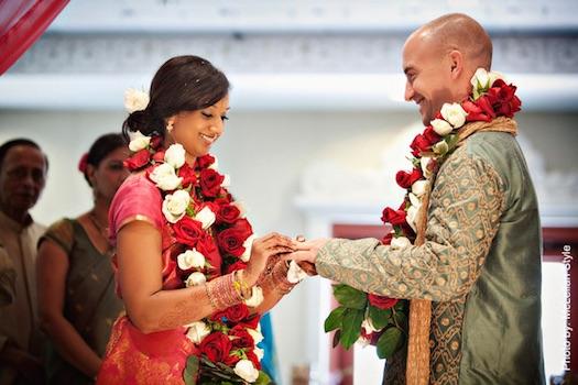 Indian couple exchange varmalas