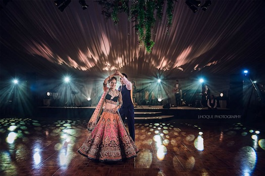 Indian wedding couple first dance