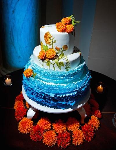 Marigold Indian wedding cake