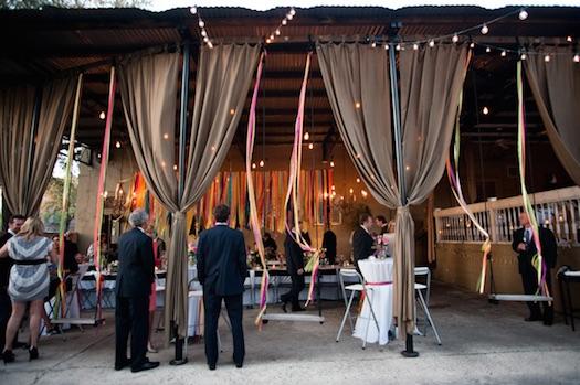 Ribbons hanging at wedding reception