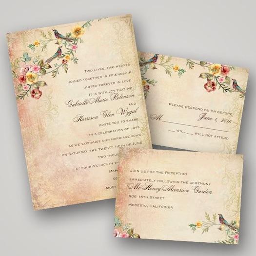 Wedding invitations - bird Themed
