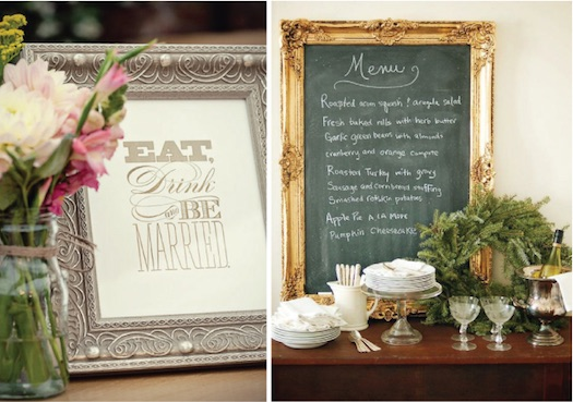 frames used at wedding desser table