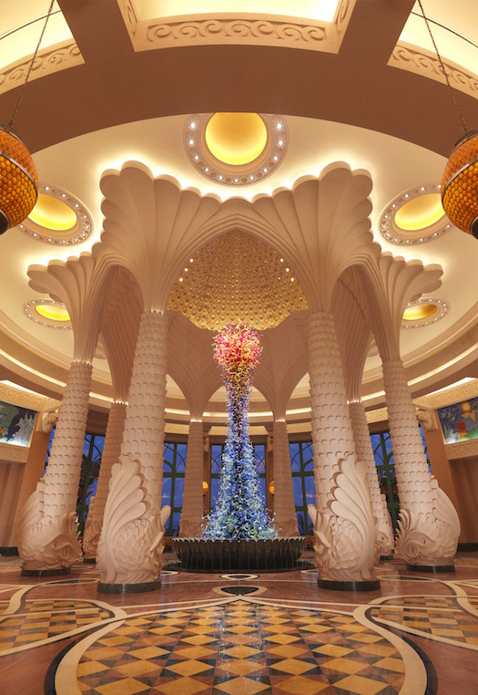 lobby of Atlantis the palm - marine themed glass sculpture