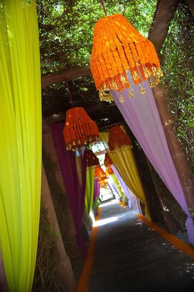 marigold chandlier Indian wedding