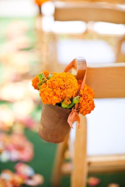 marigolds used at wedding ceremony