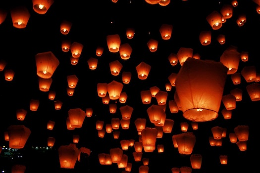 sky lanterns at Indian wedding