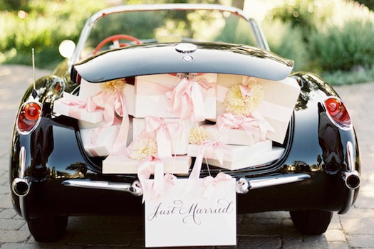 wedding car full of gifts